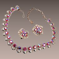 Script Coro Red Rhinestone Necklace and Earring Set