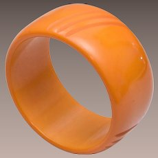 Butterscotch Wide Bakelite Bangle Bracelet