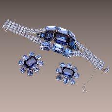 Large 2-Tone Blue Rhinestone Bracelet and Earring Set