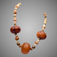 Bakelite Barrels and Natural Stone Necklace