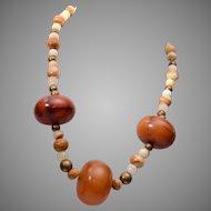 Bakelite Barrels and Natural Stone Necklace