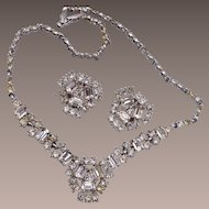 Bogoff Rhinestone Necklace and Earring Set