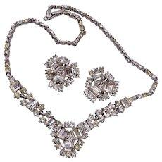Bogoff Rhinestone Necklace and Earring Set