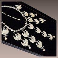 Large Bib Style Rhinestone Bib Necklace