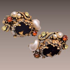 Florenza Black Glass and Faux Pearl Earrings