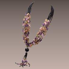 8 Strand Amethyst, Peridot, Garnet and Quartz Necklace
