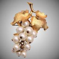 Boucher 2083 Faux Pearl Grape Brooch