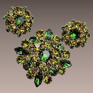 Made in Austria Green Rhinestone Brooch and Earring Set