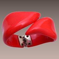 Red Lucite Clamper Bracelet