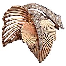 Boucher Beautiful 2 leaf Brooch