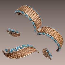 Boucher Turquoise and Rhinestone 3 Piece Set