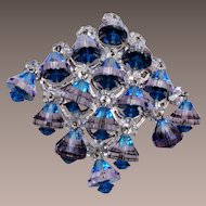 Vendome Blue Crystal Brooch