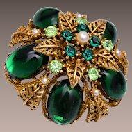 ART Green Domed Brooch