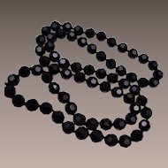 Black Faceted Crystal Tied In Between Necklace