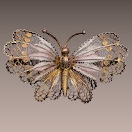800 Silver Filigree Butterfly Brooch