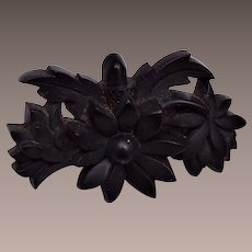 Gutta Percha Molded Flower Brooch
