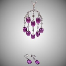 Sarah Coventry Purple Faceted Lucite Set