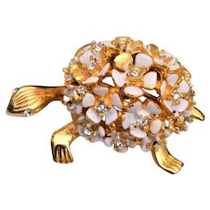 Alice Caviness Enameled Flower Turtle Brooch