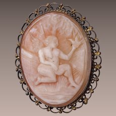 Shell Cameo Angel With Bird