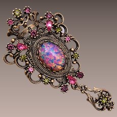 Sarah Coventry Pink, Purple, and Faux Opal Brooch / Pendant