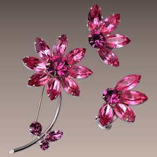 Regency Pink and Red Daisy Flower Brooch and Earring Set