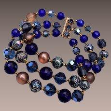 DeMario Blue 3 Strand Beaded Bracelet