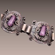 Silver and Purple Glass Bracelet