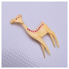 Celluloid Deer Brooch with Rhinestones