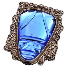Carved Blue Glass Face Brooch from Mexico