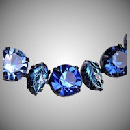 Regency Molded Glass Leaf Blue Rhinestone Necklace