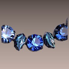 Regency Molded Glass Leaf Blue Rhinestone Necklace