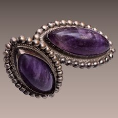 Silver Mexico Amethyst Earrings