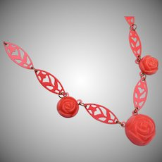 Celluloid Coral Rose Necklace