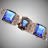 Sterling 925 Taxco Mexico Carved Blue Glass Bracelet