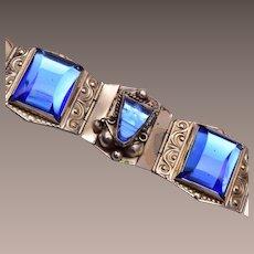 Sterling 925 Taxco Mexico Carved Blue Glass Bracelet