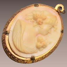 Celluloid Cameo Pendant or Charm
