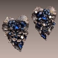 DeMario NY Blue Crystal Earrings