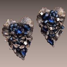 DeMario NY Blue Crystal Earrings