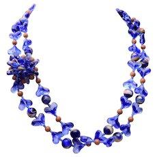 Hattie Carnegie Blue 2 Strand Glass Beaded Necklace
