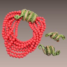 Vendome Coral Glass and Green Snake Bracelet and Earrings Set