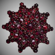 Bohemian Cushion Set Garnet Brooch