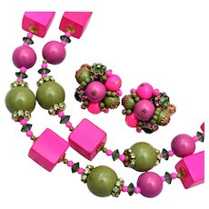 Vendome Brightly Colored Necklace and Earring Set