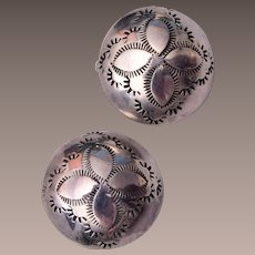 Silver Button American Indian Earrings