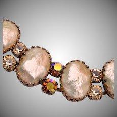 Regency Topaz and Faux Pearl Bracelet