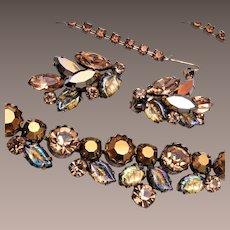 Regency Molded Leaf Necklace and Earring Set
