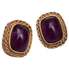Givenchy Paris New York Purple Jelly Glass Earrings