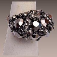 Hollycraft Hematite Adjustable Ring
