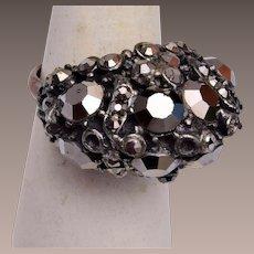 Hollycraft Hematite Adjustable Ring