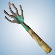 Vintage Hand Garden Tool with Old Green Paint