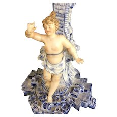 German Cherub Figural Centerpiece from CG Schierholz 1900's Blue and White Porcelain